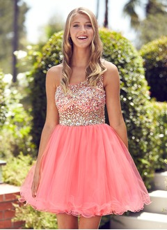 A-Line/Princess One-Shoulder Short/Mini Tulle Homecoming Dress With Beading