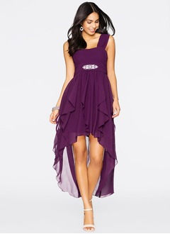 A-Line/Princess Sweetheart Asymmetrical Chiffon Cocktail Dress With Ruffle Beading Cascading Ruffles