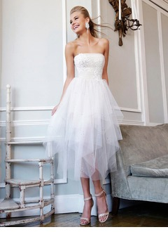 A-Line/Princess Strapless Tea-Length Tulle Lace Prom Dress With Appliques Lace Sequins