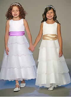 A-Line/Princess Scoop Neck Ankle-Length Organza Satin Flower Girl Dress With Sash