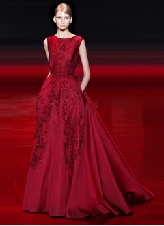 Ball-Gown Scoop Neck Court Train Satin Evening Dress With Beading Appliques Lace