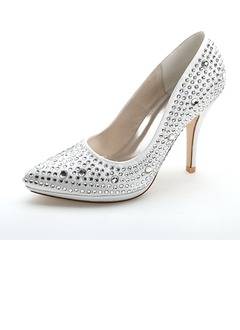 Women's Satin Stiletto Heel Closed Toe Pumps With Beading  ...