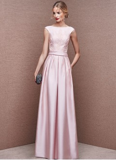 A-Line/Princess Scoop Neck Floor-Length Satin Evening Dress With Ruffle Appliques Lace