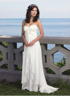 Empire Strapless Sweetheart Sweep Train Chiffon Wedding Dress With Ruffle Lace Cascading Ruffles