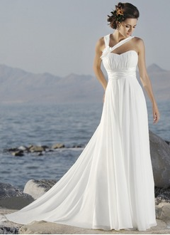 Empire One-Shoulder Court Train Chiffon Wedding Dress With  ...