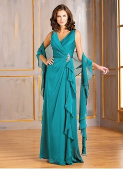 A-Line/Princess V-neck Floor-Length Chiffon Mother of the Bride Dress With Ruffle Crystal Brooch Cascading Ruffles