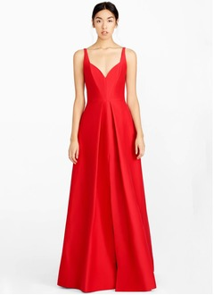 A-Line/Princess Sweetheart Floor-Length Satin Evening Dress With Split Front