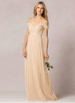 A-Line/Princess Off-the-Shoulder Floor-Length Tulle Bridesmaid Dress