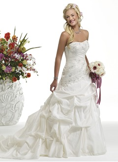 A-Line/Princess Strapless Cathedral Train Taffeta Wedding Dress With Ruffle Lace Beading