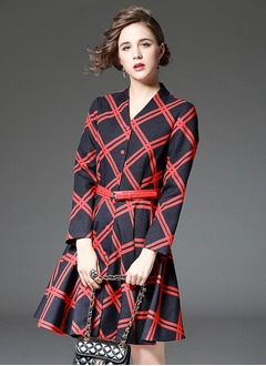 As Picture Polyester Tartan Long Sleeve Above Knee Dresses