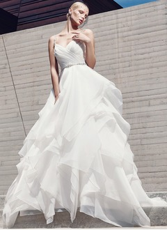 A-Line/Princess V-neck Chapel Train Organza Wedding Dress With Beading