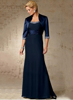 Empire Square Neckline Floor-Length Chiffon Charmeuse Mother of the Bride Dress With Beading
