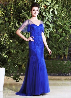Trumpet/Mermaid V-neck Sweep Train Satin Tulle Mother of the Bride Dress With Beading