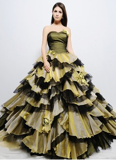 Ball-Gown One-Shoulder Floor-Length Organza Charmeuse Quinceanera Dress With Ruffle