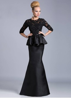 Trumpet/Mermaid Scoop Neck Sweep Train Satin Lace Evening Dress With Beading