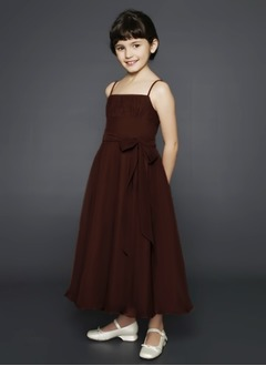 A-Line/Princess Strapless Ankle-Length Chiffon Charmeuse Flower Girl Dress With Ruffle