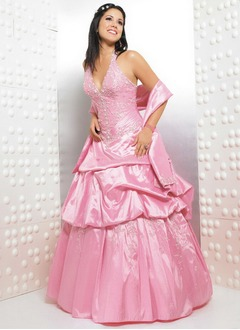 Ball-Gown Halter Floor-Length Taffeta Quinceanera Dress With Embroidered Ruffle Beading