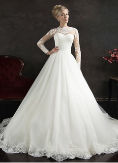 A-Line/Princess Scoop Neck Cathedral Train Tulle Lace Wedding Dress