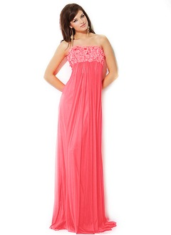 Empire Strapless Floor-Length Chiffon Evening Dress With Ruffle Appliques Lace