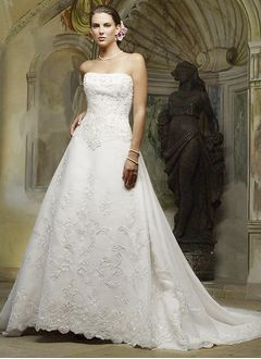 Ball-Gown Strapless Cathedral Train Satin Wedding Dress With Beading Appliques Lace