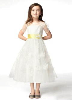 A-Line/Princess Scoop Neck Tea-Length Satin Lace Flower Girl Dress With Lace Sash