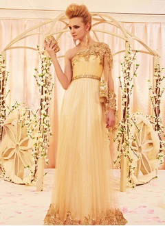 A-Line/Princess One-Shoulder Floor-Length Satin Tulle Evening Dress With Appliques Lace Sequins