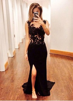 Trumpet/Mermaid Scoop Neck Sweep Train Chiffon Evening Dress With Beading Appliques Lace Sequins Split Front