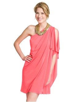 A-linje One-Shoulder Kort/Mini Chiffon Cocktailkjole