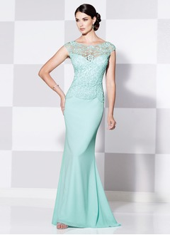 Trumpet/Mermaid Scoop Neck Sweep Train Chiffon Lace Mother of the Bride Dress With Lace