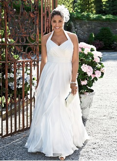 A-Line/Princess Halter Sweep Train Chiffon Wedding Dress With Ruffle