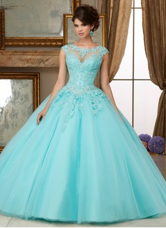 Ball-Gown Scoop Neck Floor-Length Tulle Quinceanera Dress With Beading Appliques Lace