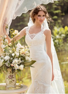 Trumpet/Mermaid Scoop Neck Floor-Length Satin Lace Wedding Dress With Beading