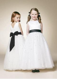 A-Line/Princess Scoop Neck Floor-Length Satin Tulle Flower Girl Dress With Ruffle Sash Beading