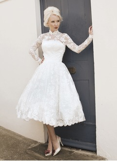 A-Line/Princess High Neck Tea-Length Lace Wedding Dress