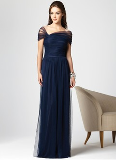 A-Line/Princess Sweep Train Tulle Evening Dress With Ruffle