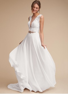 A-Line/Princess Scoop Neck Court Train Chiffon Wedding Dress With Sash