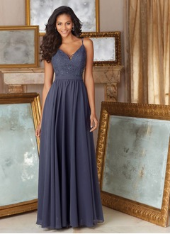 A-Line/Princess V-neck Floor-Length Chiffon Bridesmaid Dress With Ruffle Beading Appliques Lace