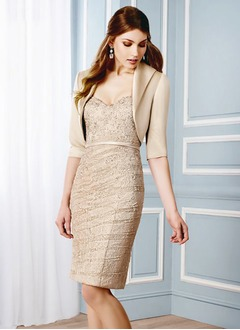 Sheath/Column Strapless Sweetheart Knee-Length Lace Mother of the Bride Dress With Lace