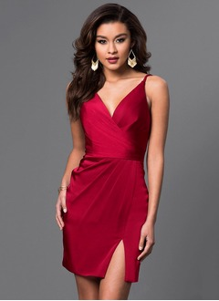 Sheath/Column V-neck Short/Mini Satin Cocktail Dress With Ruffle Split Front