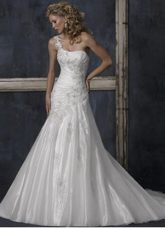 A-Line/Princess One-Shoulder Court Train Satin Lace Wedding Dress With Ruffle