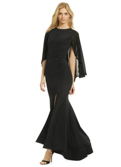 Trumpet/Mermaid Scoop Neck Asymmetrical Chiffon Satin Evening Dress With Ruffle Split Front