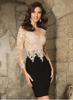 Sheath/Column Scoop Neck Knee-Length Lace Jersey Cocktail Dress With Appliques Lace