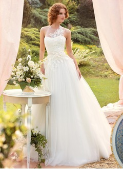 A-Line/Princess Halter Floor-Length Tulle Wedding Dress With Appliques Lace