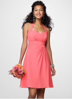 Empire Halter Short/Mini Chiffon Bridesmaid Dress With Ruffle