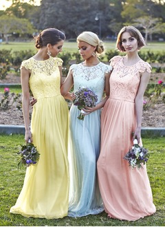 A-Line/Princess Scoop Neck Floor-Length Chiffon Bridesmaid Dress With Lace (0075059180)