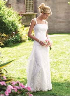 A-Line/Princess Scalloped Neck Floor-Length Chiffon Lace Wedding Dress With Ruffle