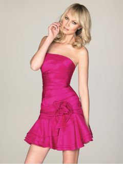 Sheath/Column Strapless Short/Mini Taffeta Homecoming Dress With Ruffle Flower(s)