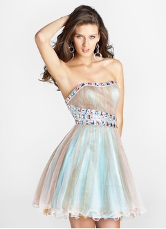 A-Line/Princess Strapless Sweetheart Short/Mini Organza Charmeuse Homecoming Dress With Ruffle Lace Beading
