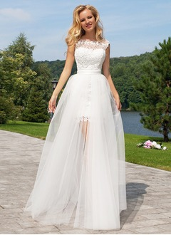 A-Line/Princess Scoop Neck Floor-Length Detachable Tulle Lace Wedding Dress