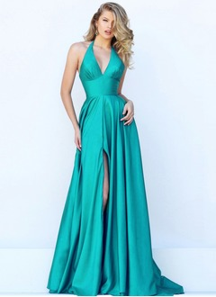 A-Line/Princess Halter V-neck Sweep Train Satin Prom Dress With Ruffle